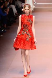 A model walks the runway at the Dolce&Gabbana show during the Milan Fashion Week Autumn/Winter 2015 on March 1, 2015 in Milan, Italy.